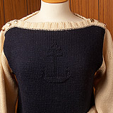 L/SI Boatneck Sweater with Contrast Sleeves/Neck